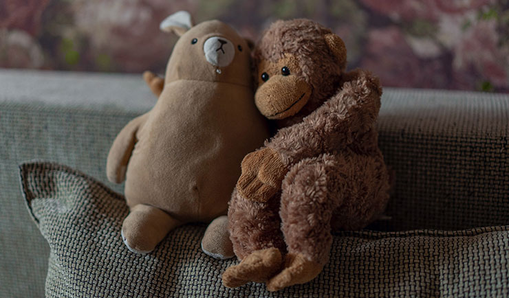 Cute image of a penguin and a monkey toys hugging each other to represent self-care.